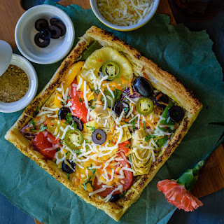Roasted Vegetable Puff Pastry Pizza.