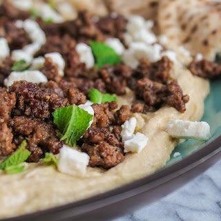 Warm Hummus with Spiced Beef & Feta
