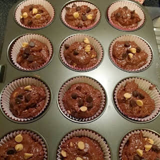 Double Chocolate Buttermilk Muffins with Peanut Butter Chips.