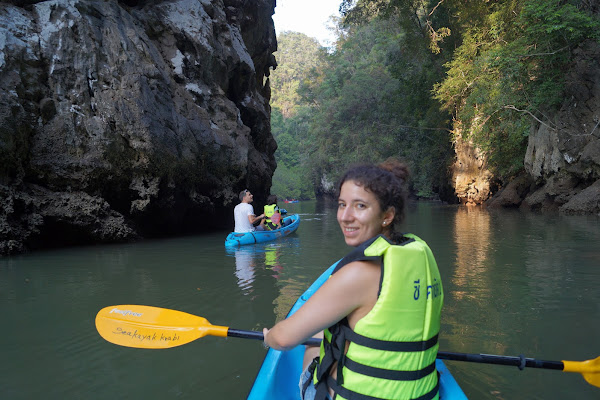 Canoe into the narrow canyon of Ao Thalane