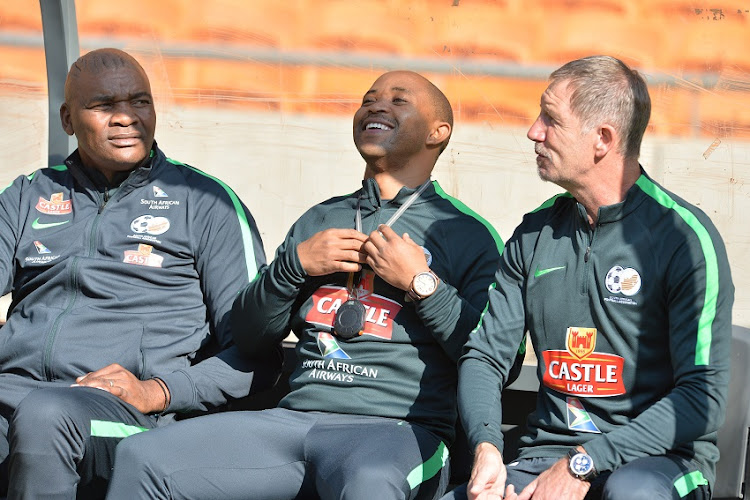 Molefi Ntseki, Thabo Senong and Bafana Bafana coach Stuart Baxter during the South African national mens soccer team training session at FNB Stadium on June 06, 2017 in Johannesburg, South Africa.