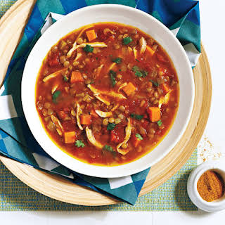 Curried Chicken and Lentil Soup With Sweet Potato.