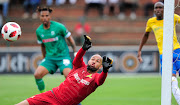 Reyaad Pieterse of Mamelodi Sundowns FC saves a shot at goal during the Absa Premiership 2018/19 game between AmaZulu and Mamelodi Sundowns at King Zwelentini Stadium on 15 September 2018.
