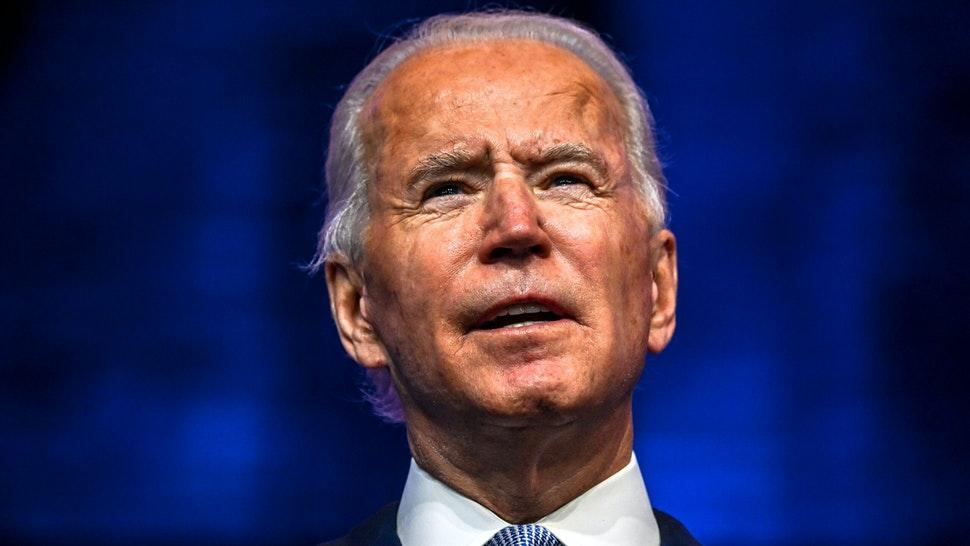"US President-elect Joe Biden speaks during a cabinet announcement event in Wilmington, Delaware, on November 24, 2020. - US President-elect Joe Biden introduced November 24, 2020 a seasoned national security team he said was prepared to resume US leadership of the world after the departure of President Donald Trump. ""It's a team that will keep our country and our people safe and secure,"" Biden said, introducing his picks for secretary of state, national security advisor, intelligence chief, and other key cabinet jobs""It's a team that reflects the fact that America is back. Ready to lead the world, not retreat from it,"" Biden said."