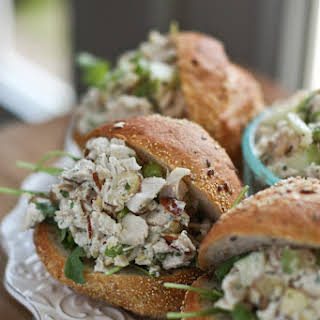 Autumn Rotisserie Chicken Salad with Almonds and Apples.