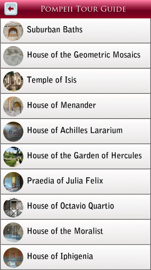 Pompeii Tour Guide- screenshot