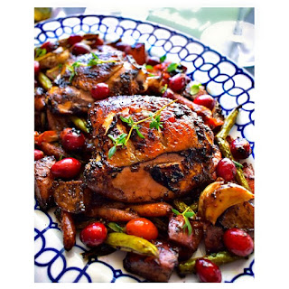 Quick Oven Roasted Balsamic Chicken with Vegetables.