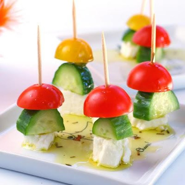 Green, Red, & White Skewers. Skew cherry tomatoes, cucumbers, or green peppers and add...