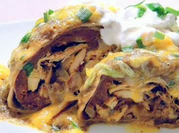 Baked Chicken Chimichangas with Sauce