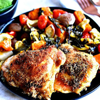 Crispy Chicken Thighs One-Pan Meal {Gluten-Free, Paleo, Whole30}.