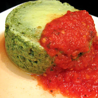 Spinach Timbales with Tomato Sauce.