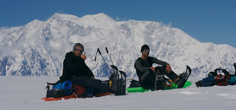 Photo: Our team with Mount Logan massiv.