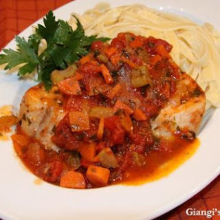 Swordfish with Tomatoes, Carrots and Celery