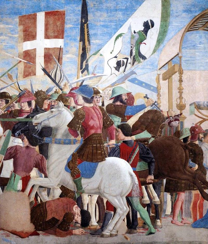 Piero della Francesca,Battaglia di Eraclio e Cosroè, affresco, parte centrale, Basilica di San Francesco, Arezzo