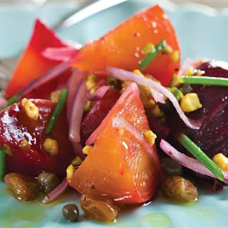 Salad of Roasted Heirloom Beets with Capers and Pistachios