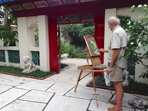 Photo: Quince painting plein air at the Society of the Four Arts 12-12-13