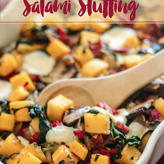 Italian Polenta Stuffing with Salami and Mozzarella Recipe