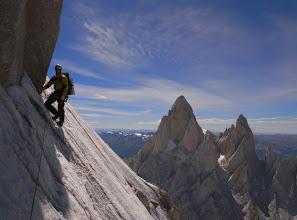 Photo: Kasper on an ice traverse about half way up Cerro Torre