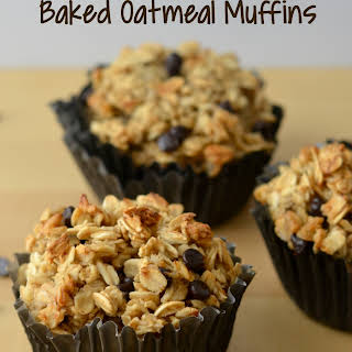 Chocolate Peanut Butter Baked Oatmeal Muffins.