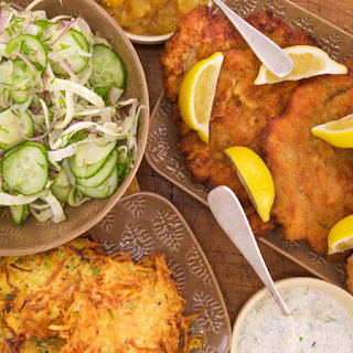 Schnitzel with Schnapple-Sauce and Parsnip-Potato Pancakes