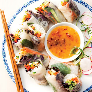 Spring Rolls with Spicy Apricot-Ginger sauce.