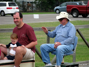 Photo: Bill Howe, conductor, waiving to the little ones waiting at the station.    HALS 2009-0919