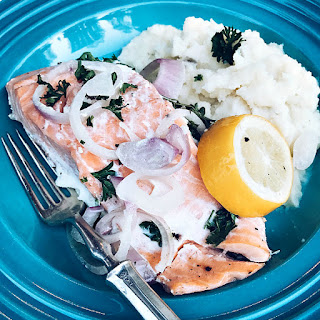 Slow Cooker Poached Salmon with Meyer Lemon, Capers, and Parsley