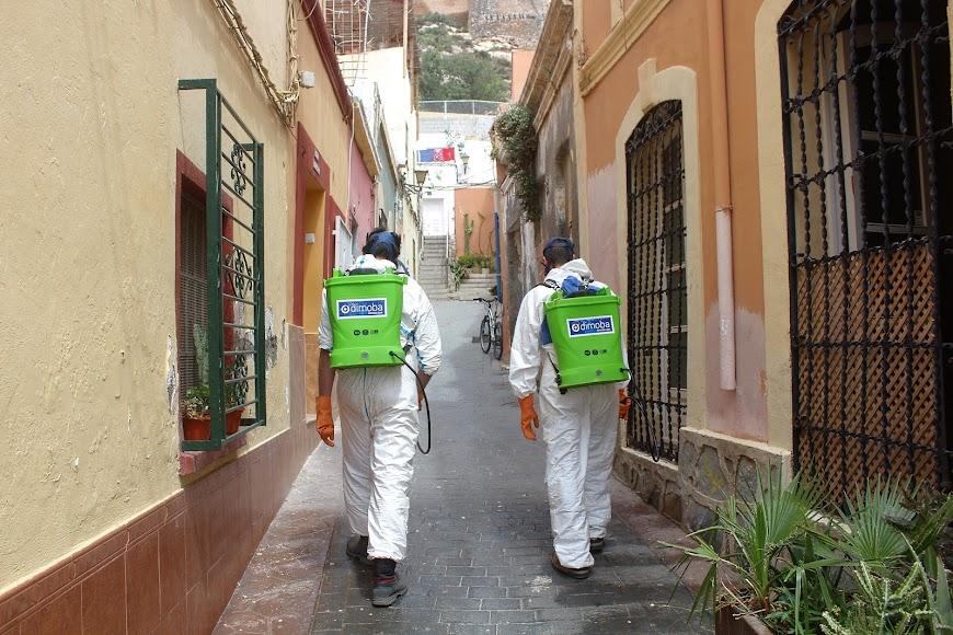 Desinfectando el Casco Histórico.