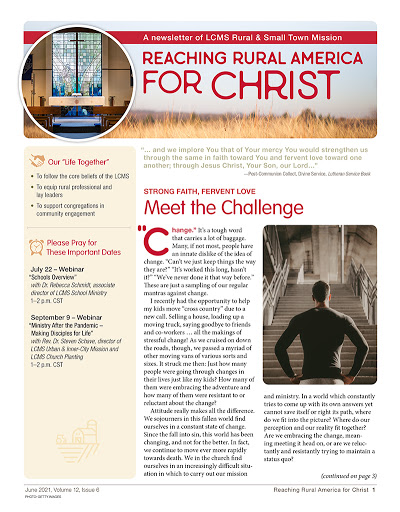 LCMS Rural & Small Town Mission: June 2021 newsletter