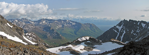 Photo: Glacier Pass: panoramic view of Talkeetnas + Chugach Range
