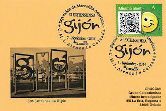 Photo: Matasellos de la Exposición de marcofilia asturiana y el logo de Gijón, XI EXFIENSIDESA