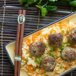 Baked Asian Turkey Meatballs & Carrot Rice