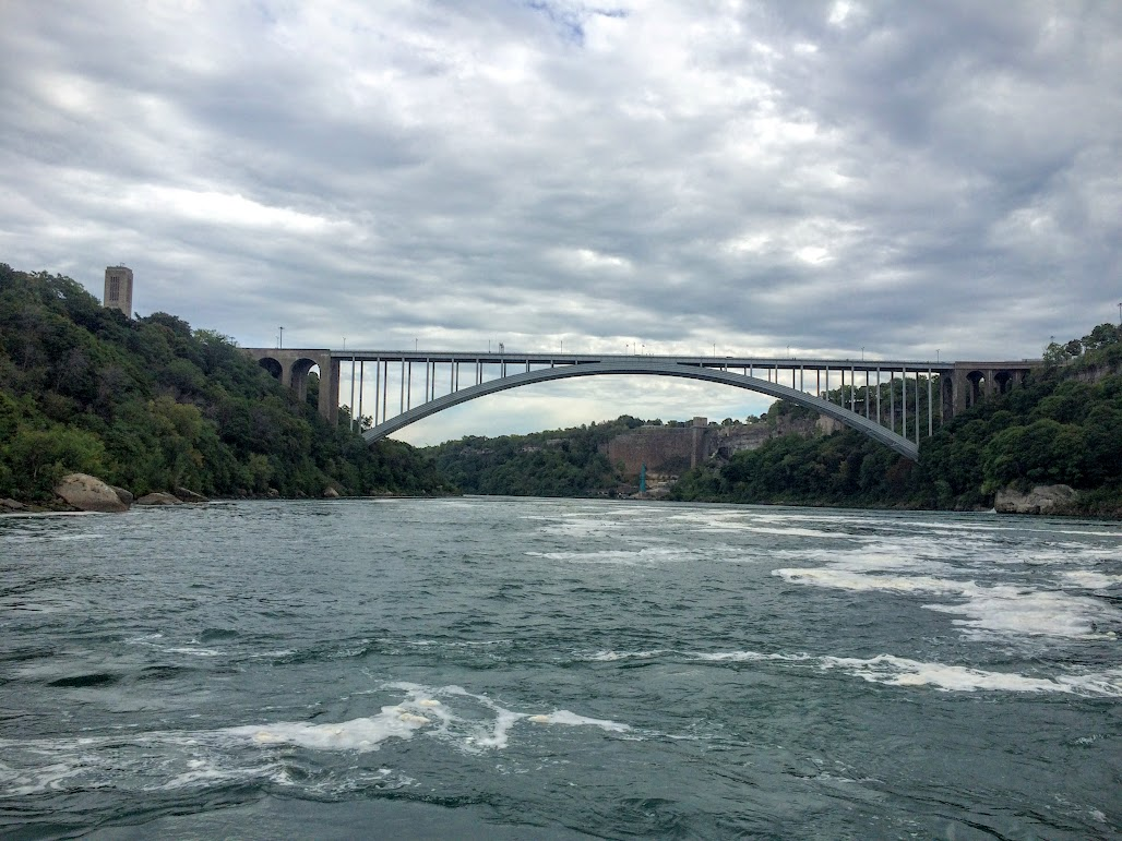A shot from the back of Hornblower of the Rainbow bridge that connect the two Niagara Falls cities.