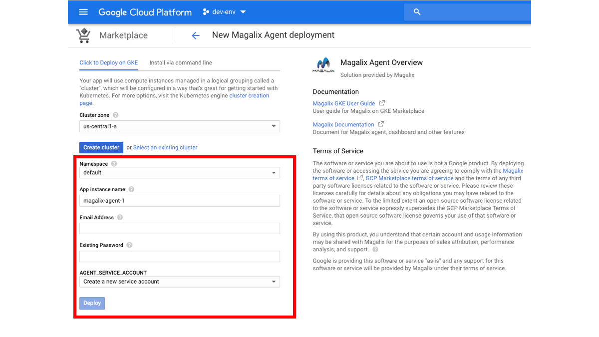 configure magalix agent at google market place