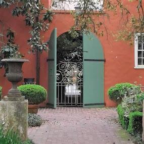 Private Courtyard by Denise DuBos - Buildings & Architecture Public & Historical ( entertain, private, gentlemen callers, courtyard, darrow, houmas house plantation, louisiana, garden setting )