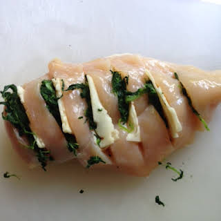 Hasselback Chicken with Spinach and Pepper Jack.