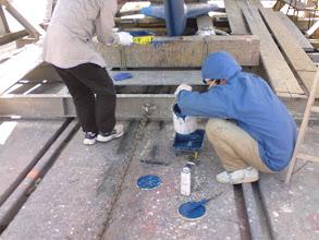 Photo: いよいよ船底塗料を塗ります 昨日とは打って変わって良い天気になりました