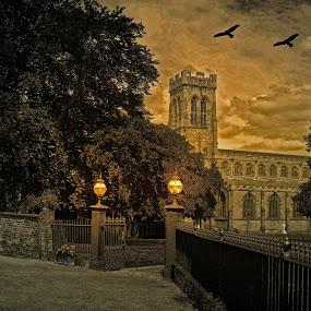 Broseley Parish Church by Simon Alun Hark - Digital Art Places ( church, graves, broseley, haunted, landscape,  )