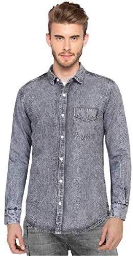 Nick&Jess Men's Acid Wash Grey Denim Shirt