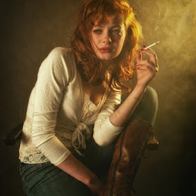 by Soran Sorin - People Portraits of Women ( girl, jeans, young, light, smoke )