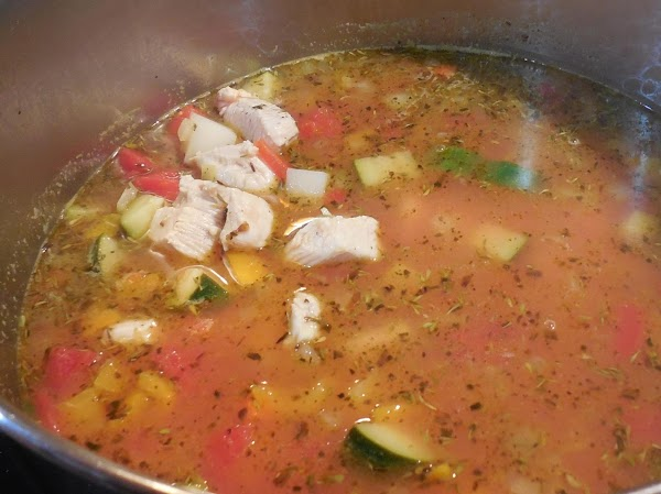 When up to temp, add diced chicken, cover and simmer 10-12 minutes until vegetables...