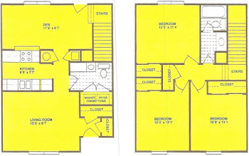 Go to Three Bed, 1.5 Bath Townhome Floorplan page.
