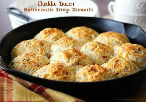 """Cheddar Bacon Buttermilk Drop Biscuits """"I call these cheddar bacon biscuits drop..."""