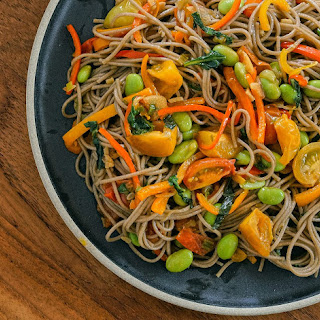 Soba Noodle Stir Fry with Edamame, Cherry Tomatoes, Basil, and Baby Bells Recipe