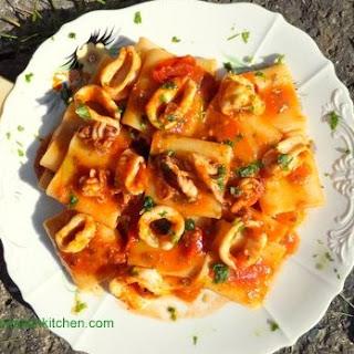 Squid in Tomato Sauce with Paccheri Pasta Recipe