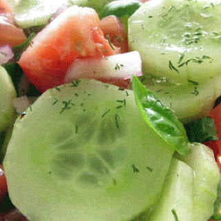 The Best Tasting Cucumber & Tomato Salad With A Homemade Dressing You'll Ever Have!