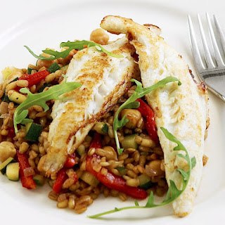 Catfish with Barley and Chickpeas