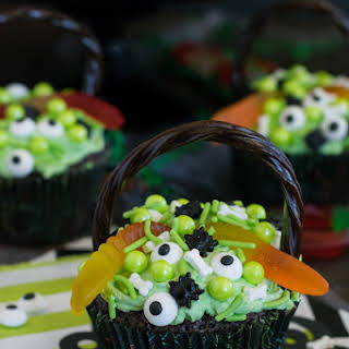 Witch's Cauldron Brownie Cupcakes.