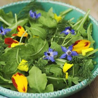 Arugula Salad with Edible Flowers.