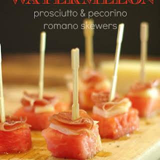 Watermelon, Prosciutto & Pecorino Romano Skewers.